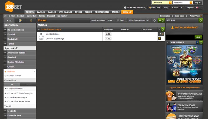 188BET Cricket Betting