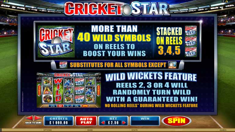 Cricket Star Slot Paytable